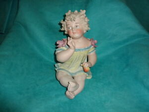 Lovely Rare Lg Antique German Bisque Porcelain Piano Baby Conta