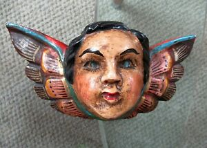 Vtg Mexico Guerrero Carved Wood Hp Winged Angel Head Mexican Folk Art Wall D Cor