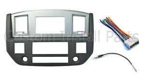 Radio Double Din Dash Install Bezel Kit Silver Slate Grey Fits 2006 09 Dodge Ram