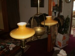 Antique Victorian Gas Chandelier Light 2 Shades Electric 1800 S Steampunk