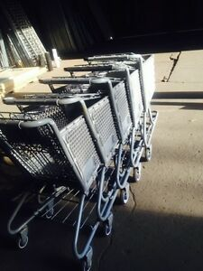 Shopping Carts Trailer Lot 250 Dollar Store Small Used Gray Plastic Basket Buggy