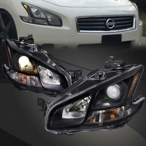 Fits 09 14 Nissan Maxima Halogen Type Black Projector Headlights Pair Set New