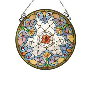 Tiffany Style 24 Round Stained Glass Window Panel Victorian Handcrafted