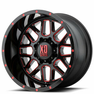 Qty4 18 Xd Wheels Xd820 Grenade Satin Black Milled W Red Tinted Off Road Ad