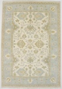Large Hand Knotted Floral Design Oushak 6x9 Indian Area Rug Oriental Home Carpet