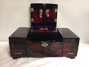 Antique Vtg Black Lacquer Musical Jewelry Box Asian Hand Painted Drawers Mirror