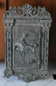 Fabulous Victorian Era Iron Fronted Wooden Mailbox Greek God Maiden And Child