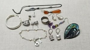 Lot Of 16 Assorted Silver Silver Scrap Jewelry Pieces Xxx Grams
