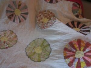 C 1920 Dresden Plate African American Antique Quilt Rustic Great Hanging Sc