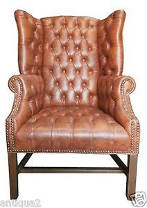 English George Iii Style Large Faux Tufted Leather Georgian Library Wing Chair