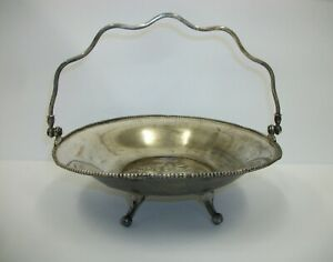 Antique Victoria Silver Plate Footed Brides Basket Floral Center Claw Ball Feet