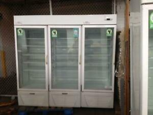 Commercial Freezer 3 Door Glass Hussman Used Good Dollar Store Deli Equipment