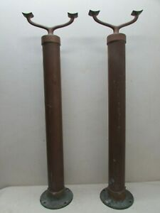 Antique Rare Brass Or Copper Theater Rope Barrier Post Pair