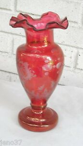 Antique Flashed Cut To Clear Cranberry Glass Vase Reindeer Unusual Building