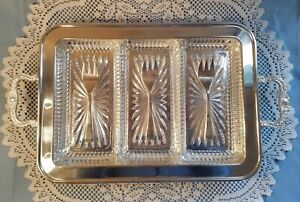 Mid Century Leonard Silver Plate Serving Tray With Glass Liners And Forks