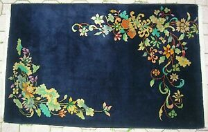 Vintage Antique Art Deco Chinese Nichols Black Blue Oriental Rug No Res