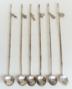 Set 6 Japanese 950 Sterling Silver Iced Tea Mint Julep Spoon Straw Bamboo Charms