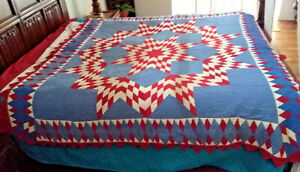 Unique Vtg Red White Blue Antique Star Quilt 73x76 Patriotic Americana Illinois