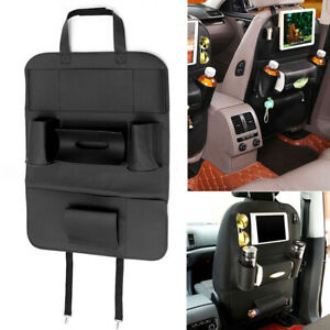 Leather Auto Car Seat Back Bag Tidy Organizer Storage Ipad Phone Holder Black