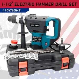 Portable Blue 1 1 2 Electric Hammer Drill Set Sds Rotary Demolition Tool Kit