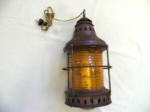 Vintage Nautical Light Hanging Electric Lamp 1950s 1960s Boat Ships Cabin