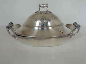 Antique Aesthetic Gorham Silverplate Oval Serving Butter Dish 3pc Liner 8 Nice