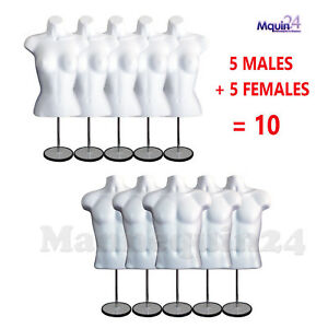 5 Female 5 Male 10 Stands 10 Hooks White Torso Dress Body Forms