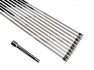 Stainless Steel 310 Cable Ties Strap Exhaust Wrap Clamp With Tightening Tool Usa