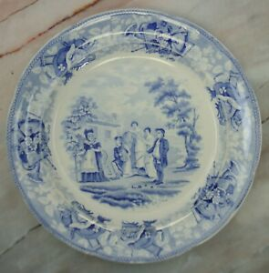 Blue And White Transferware Plate From The Drama Series Midas Act 1 Scene 3