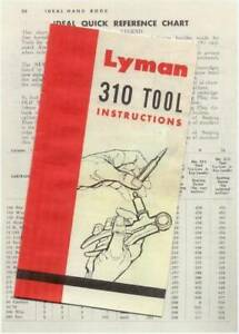Lyman Model 310 Tong Tool Instructions w Die reference chart Reproduction