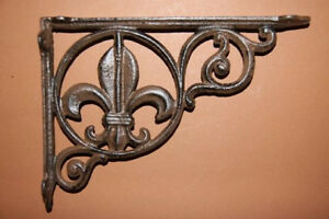 2 Creole Wall Shelf Brackets Vintage Look Solid Cast Iron 9 Inches B 3
