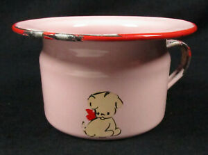 Vintage Pink Child S Chamber Pot Enamelware Hand Painted Puppy Nursery Decor