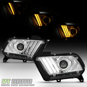 Hid Xenon 2013 2014 Ford Mustang Led Sequential Drl Tube Projector Headlights