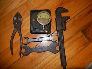 Vtg Model A Ford Motometer Tire Pressure Gauge W Case Tool Kit Pliers Wrenches