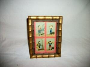 Antique Gilt Wood Faux Bamboo Frame Victorian Boy Trading Card Chic Shabby