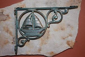 2 Vintage Style Sailboat Home Decor Bronze Look Cast Iron Shelf Brackets B 32