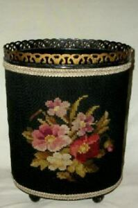 Vintage Tole Needlepoint Roses Trash Can Waste Basket Rare Chic Shabby Stunning