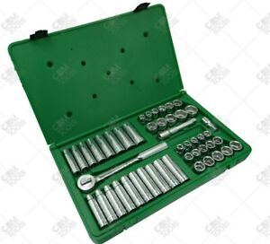 Sk Hand Tools 4147 6 47pc 1 2 Dr 6pt Shallow deep Combination Chrome Socket Set