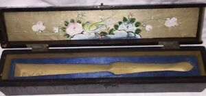 Rare 1800s Antique Chinese Fan Box Black Lacquer Gilt Wood Hand Painted Signed