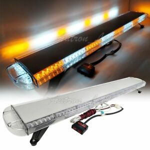 55 Amber White Led Strobe Lightbar Emergency Warning Flashing Tow Truck Wrecker