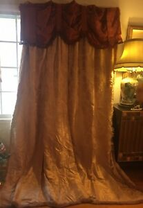 Antique French Chateau Damask Brocade Silk 19th Century Curtains Drapes Valence