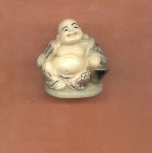 Sitting Buddha W Fan Ingot Colored Netsuke Japanese 931 Okimono B