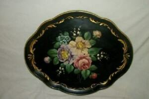 Vintage Hp Roses Tole Tray Black Nice Shape Mid Century Chic Cottage Shabby