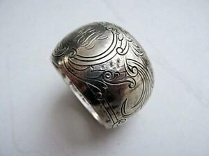 Heavy Antique Redlich Fancy Engraved Sterling Napkin Ring 54 2 Grams