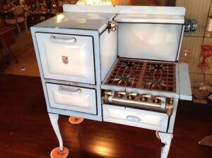 Vintage Antique A B Battle Creek Blue Porcelain Enamel Gas Cook Stove And Oven