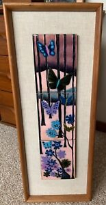 Vintage 60s 70s Enamel Painting Butterfly Tile Wall Hanging Mid Century Modern