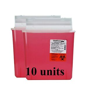 New 10 Units Sharps Container Oakridge Products Medical Waste 5 Qt Red Wo62