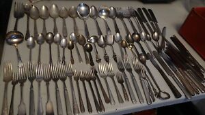 Lot Of 73 Silverplate Silverware Assorted Craft Grade Vintage Flatware