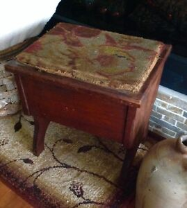 Vintage Floral Foot Stool Sewing Box