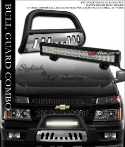 Matte Blk Bull Bar Guard Skid 120w Cree Led Light For 04 Chevy Colorado Canyon